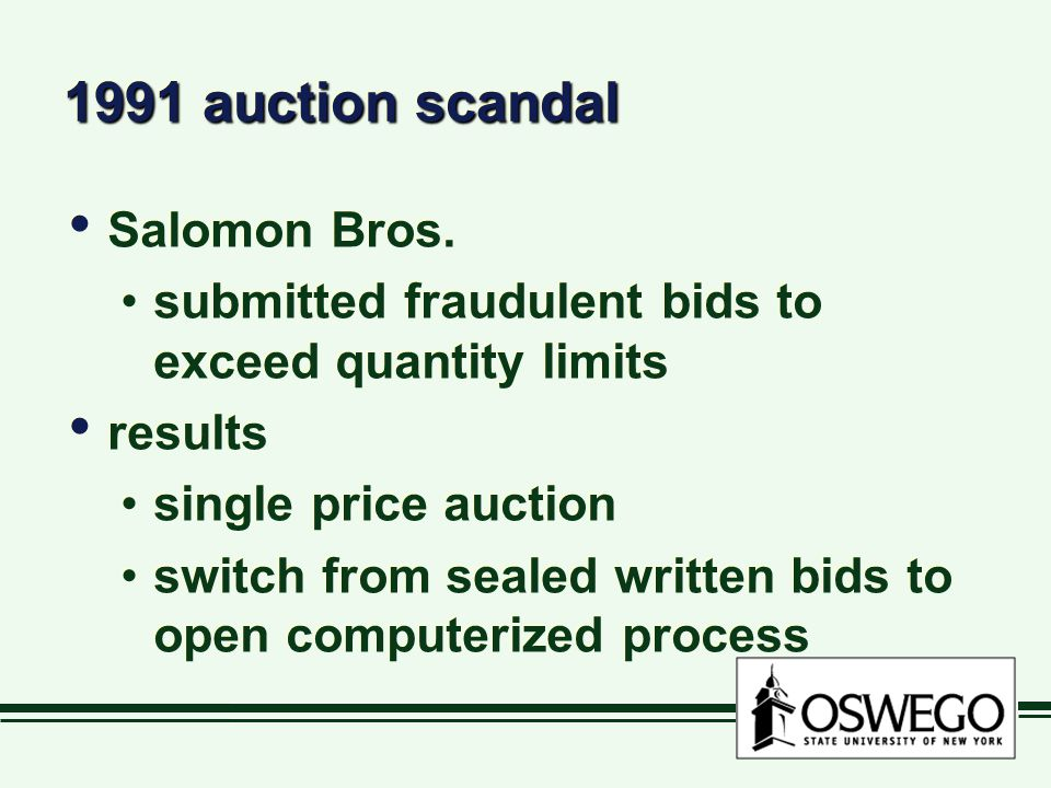 1991 auction scandal Salomon Bros.