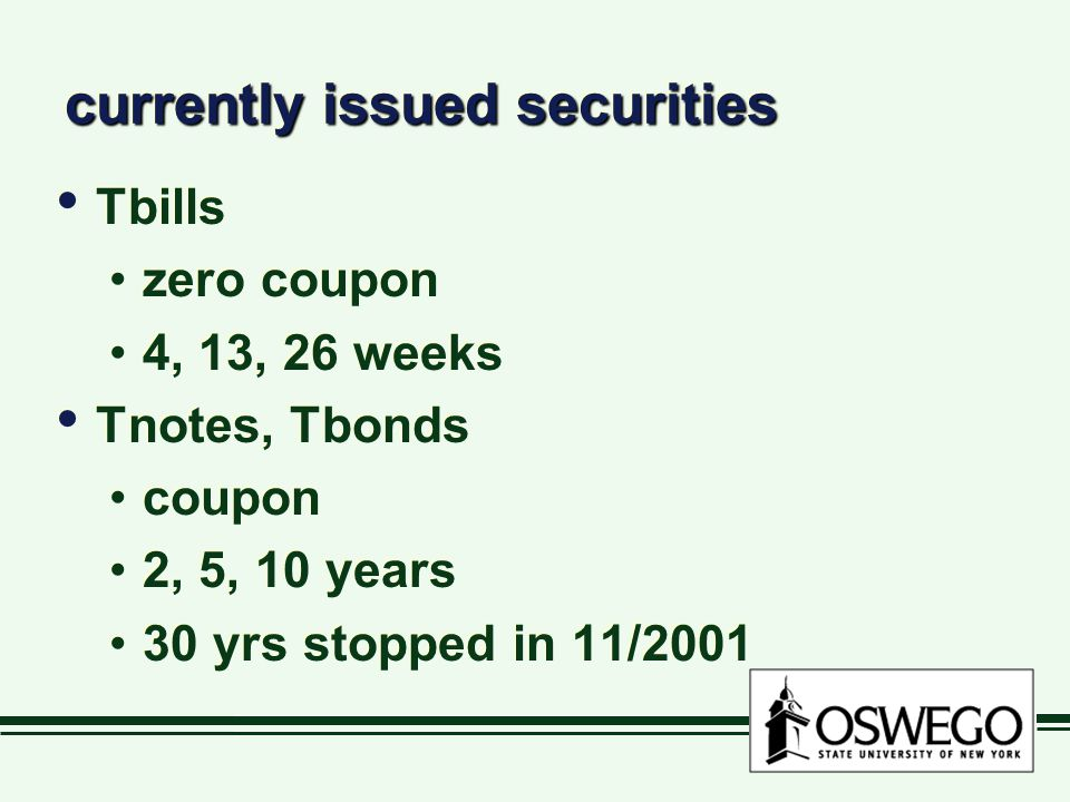currently issued securities Tbills zero coupon 4, 13, 26 weeks Tnotes, Tbonds coupon 2, 5, 10 years 30 yrs stopped in 11/2001 Tbills zero coupon 4, 13, 26 weeks Tnotes, Tbonds coupon 2, 5, 10 years 30 yrs stopped in 11/2001