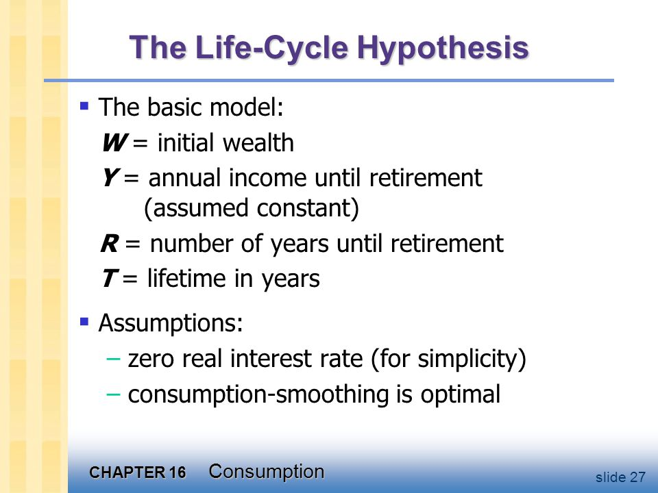 CHAPTER 16 Consumption slide 27 The Life-Cycle Hypothesis  The basic model: W = initial wealth Y = annual income until retirement (assumed constant)