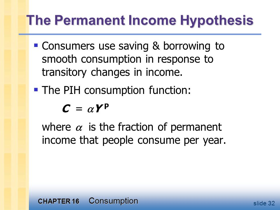 CHAPTER 16 Consumption slide 32  Consumers use saving & borrowing to smooth consumption in response to transitory changes in income.  The PIH consum