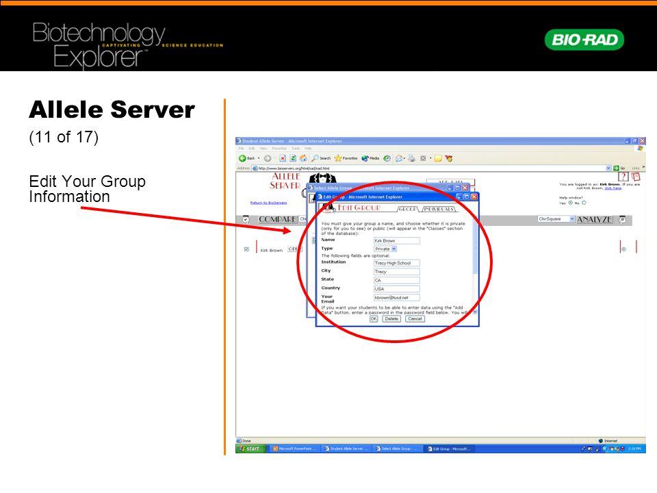 Allele Server (11 of 17) Edit Your Group Information