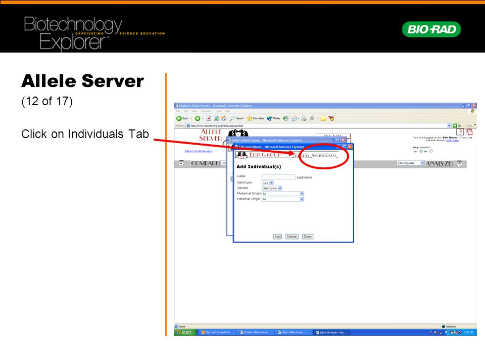 Allele Server (12 of 17) Click on Individuals Tab