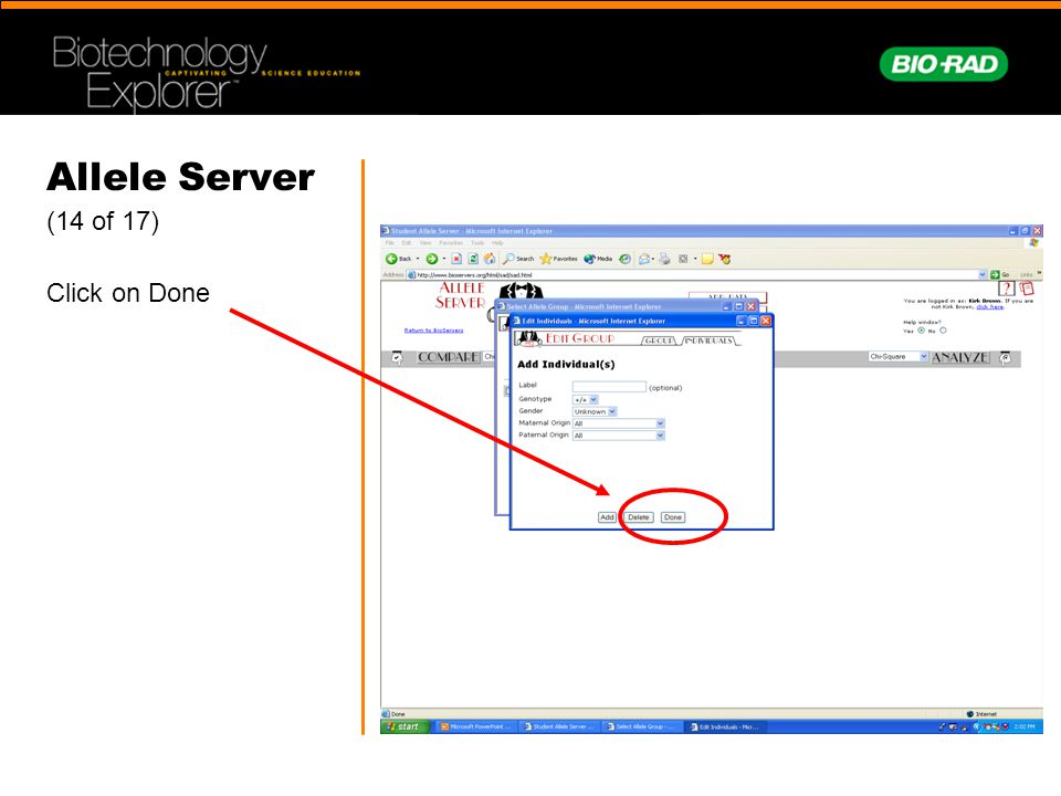 Allele Server (14 of 17) Click on Done
