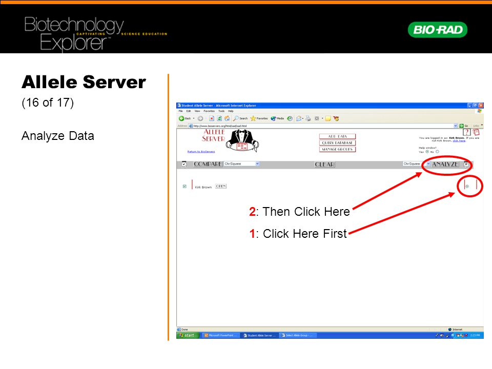 Allele Server (16 of 17) Analyze Data 2: Then Click Here 1: Click Here First