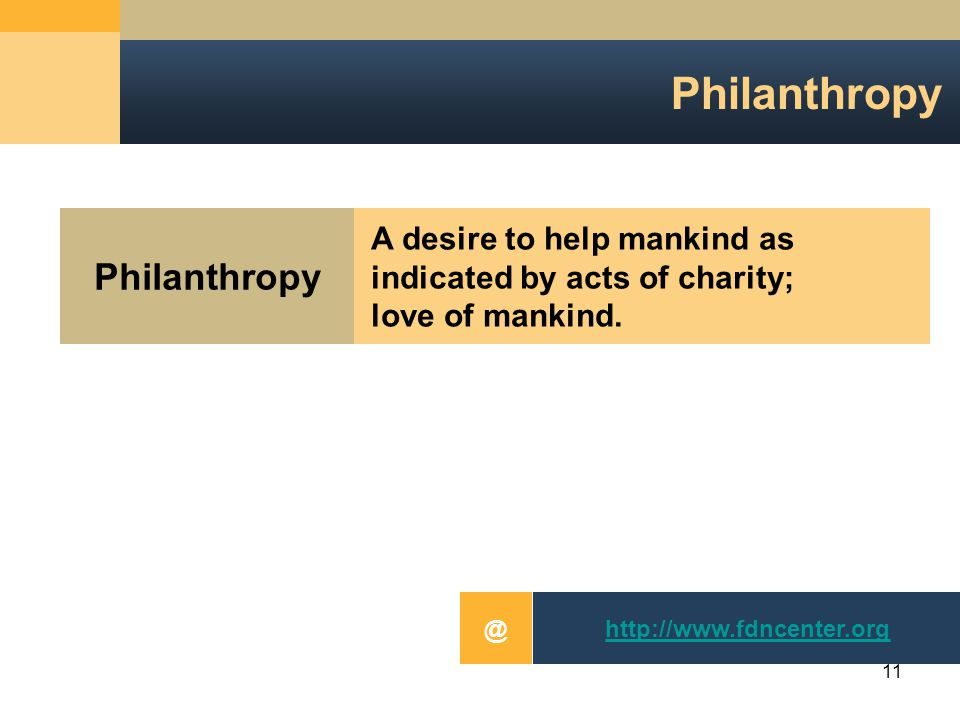 11 Philanthropy A desire to help mankind asindicated by acts of charity;love of mankind.