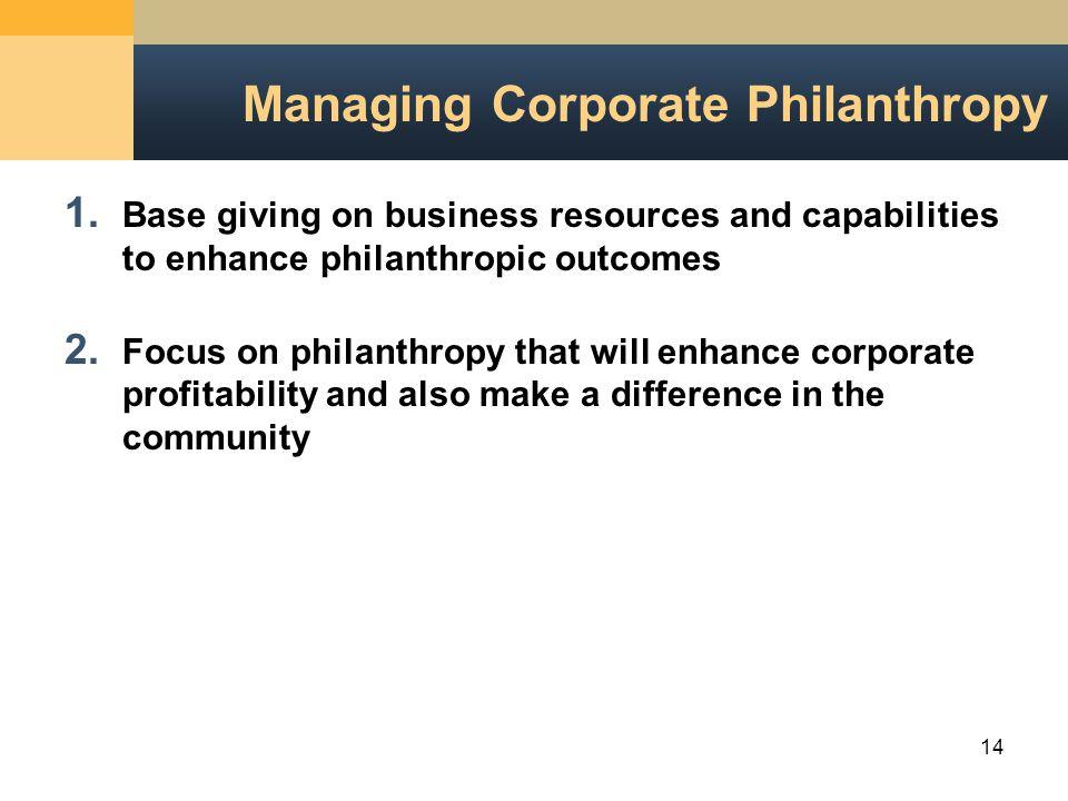 14 Managing Corporate Philanthropy 1.