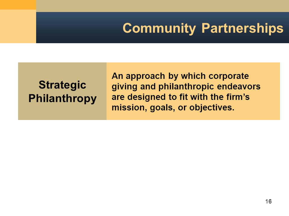 16 Community Partnerships Strategic Philanthropy An approach by which corporategiving and philanthropic endeavorsare designed to fit with the firm'smission, goals, or objectives.