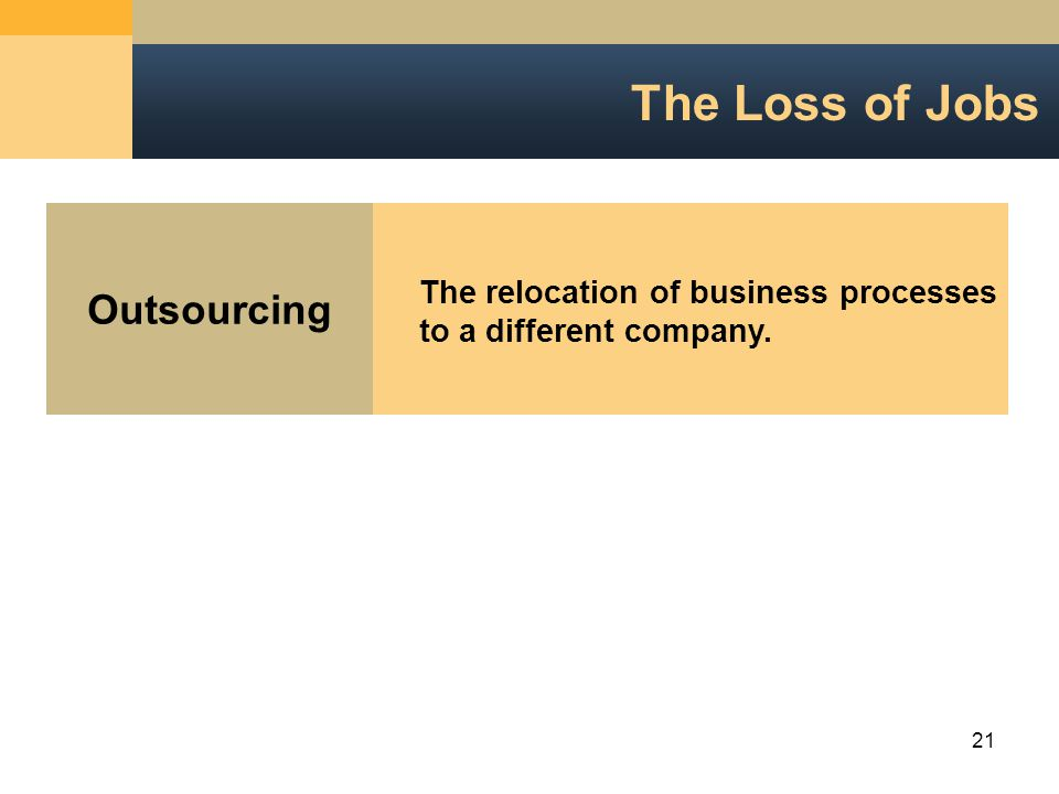 21 The Loss of Jobs Outsourcing The relocation of business processesto a different company.