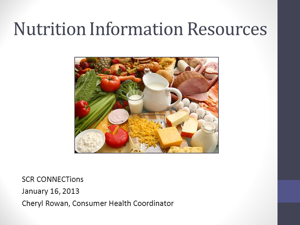Nutrition Information Resources SCR CONNECTions January 16, 2013 Cheryl Rowan, Consumer Health Coordinator
