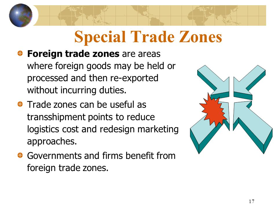 17 Special Trade Zones Foreign trade zones are areas where foreign goods may be held or processed and then re-exported without incurring duties. Trade