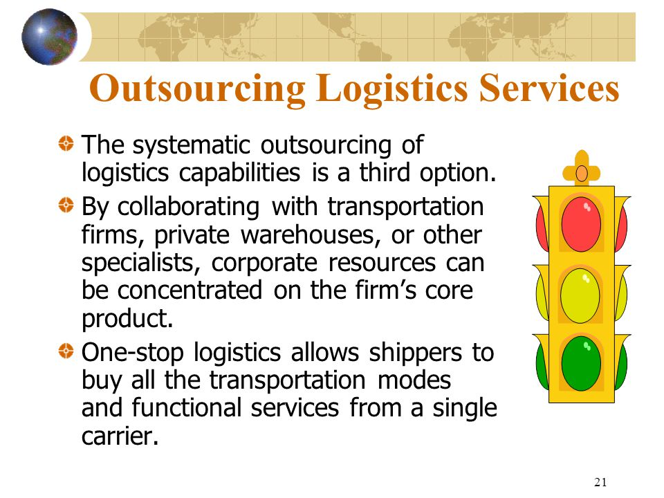 21 Outsourcing Logistics Services The systematic outsourcing of logistics capabilities is a third option. By collaborating with transportation firms,