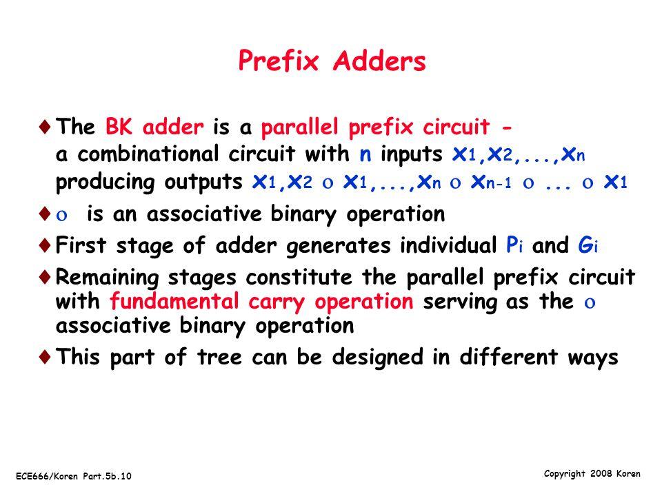 Copyright 2008 Koren ECE666/Koren Part.5b.10 Prefix Adders  The BK adder is a parallel prefix circuit - a combinational circuit with n inputs x 1, x 2,..., x n producing outputs x 1, x 2  x 1,..., x n  x n -1 ...