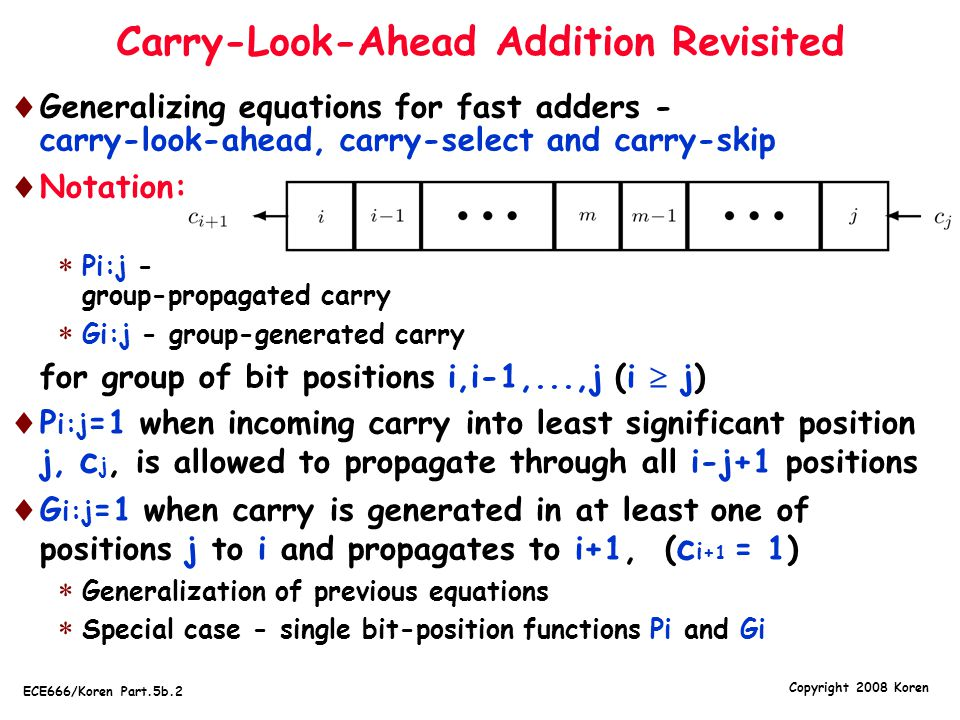 Copyright 2008 Koren ECE666/Koren Part.5b.2 Carry-Look-Ahead Addition Revisited  Generalizing equations for fast adders - carry-look-ahead, carry-select and carry-skip  Notation:  Pi:j - group-propagated carry  Gi:j - group-generated carry  for group of bit positions i,i-1,...,j (i  j)  P i:j =1 when incoming carry into least significant position j, c j, is allowed to propagate through all i-j+1 positions  G i:j =1 when carry is generated in at least one of positions j to i and propagates to i+1, ( c i +1 = 1)  Generalization of previous equations  Special case - single bit-position functions Pi and Gi