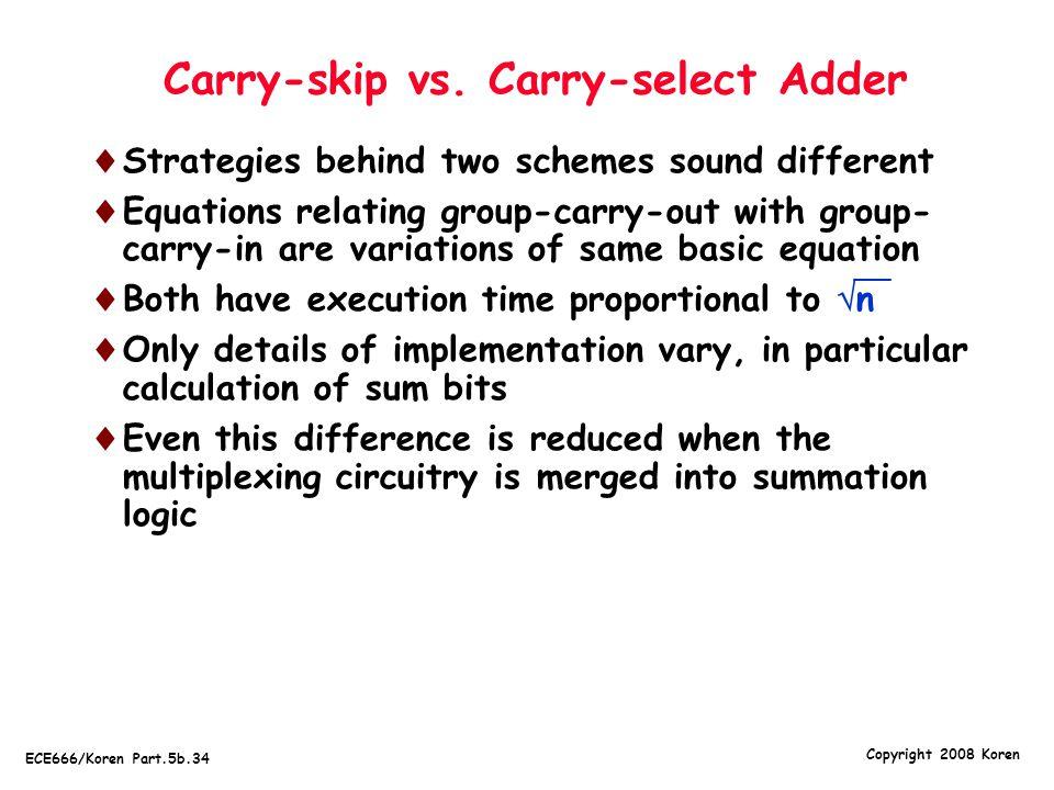 Copyright 2008 Koren ECE666/Koren Part.5b.34 Carry-skip vs.
