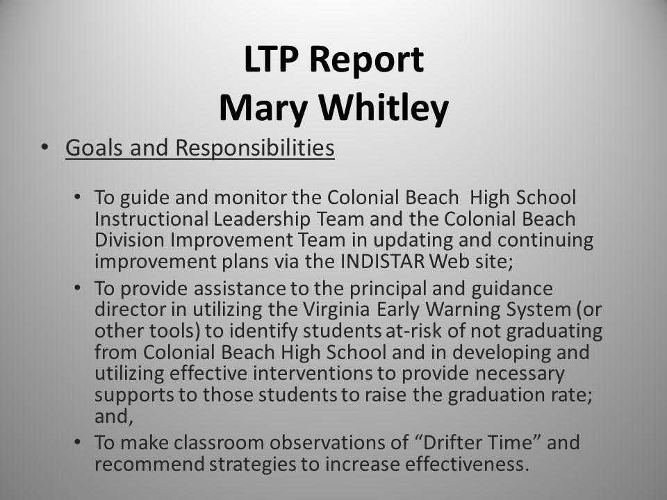 LTP Report Mary Whitley Goals and Responsibilities To guide and monitor the Colonial Beach High School Instructional Leadership Team and the Colonial