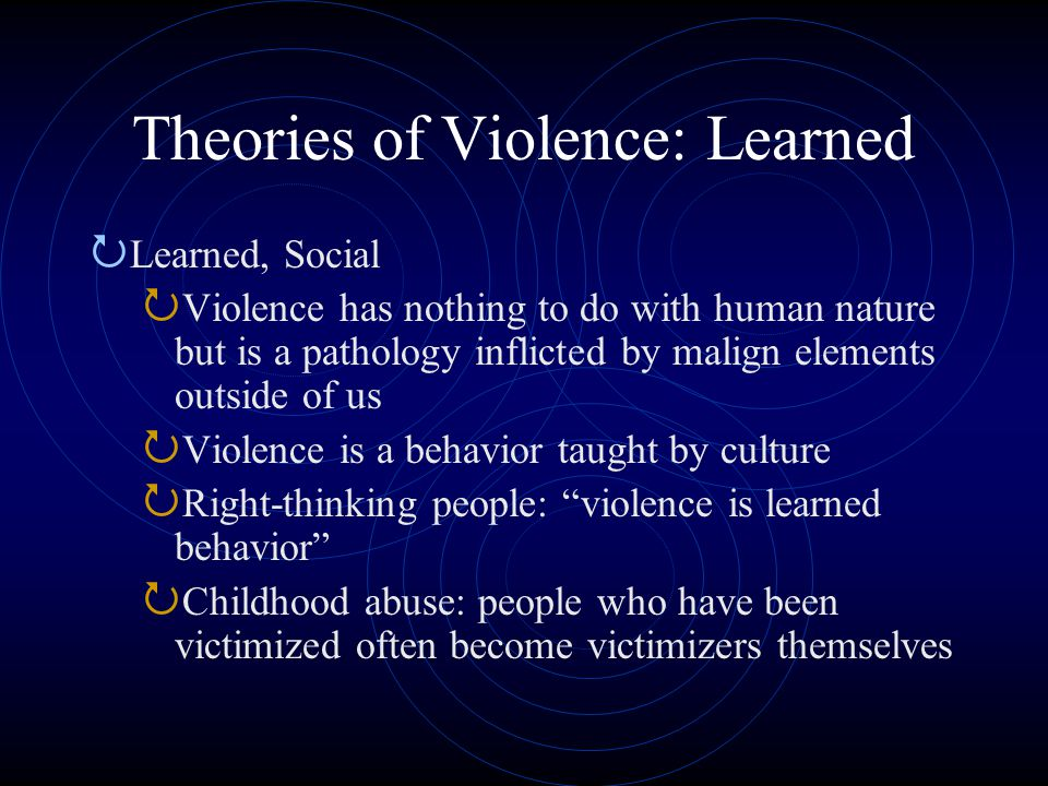 Theories of Violence: Learned  Learned, Social  Violence has nothing to do with human nature but is a pathology inflicted by malign elements outside of us  Violence is a behavior taught by culture  Right-thinking people: violence is learned behavior  Childhood abuse: people who have been victimized often become victimizers themselves