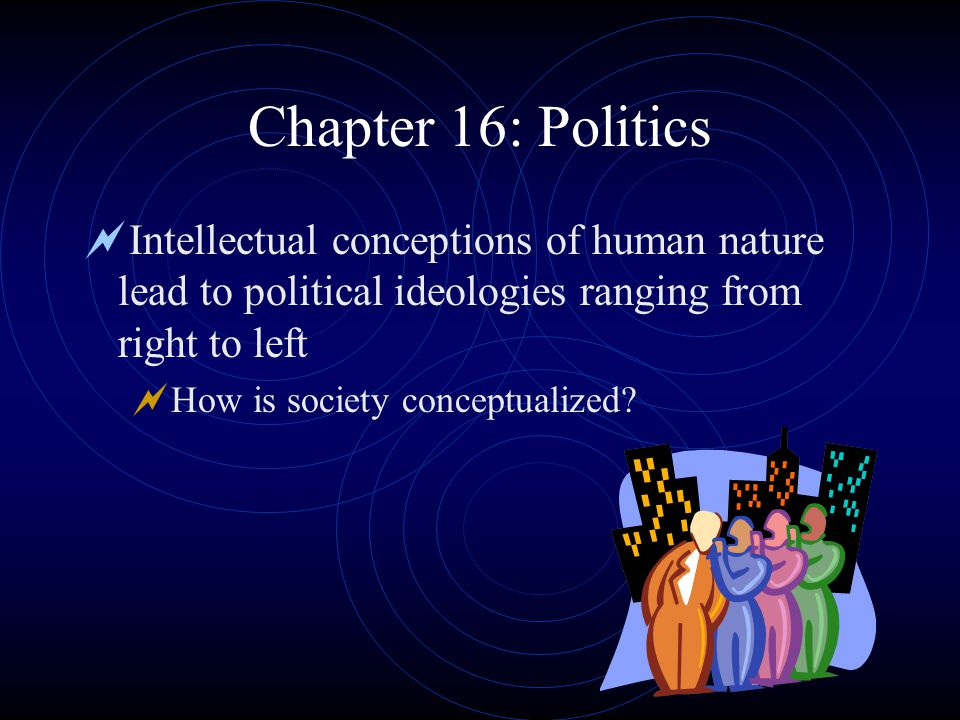 Chapter 16: Politics  Intellectual conceptions of human nature lead to political ideologies ranging from right to left  How is society conceptualized