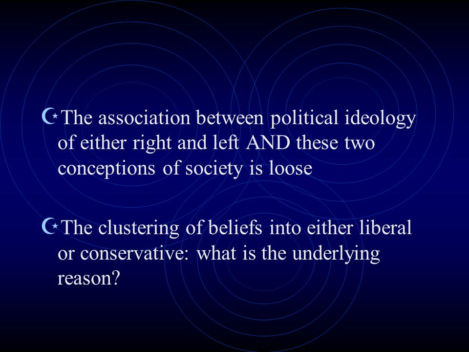  The association between political ideology of either right and left AND these two conceptions of society is loose  The clustering of beliefs into either liberal or conservative: what is the underlying reason