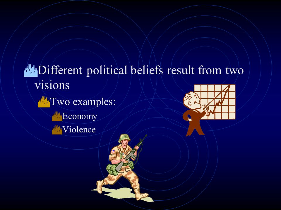  Different political beliefs result from two visions  Two examples:  Economy  Violence