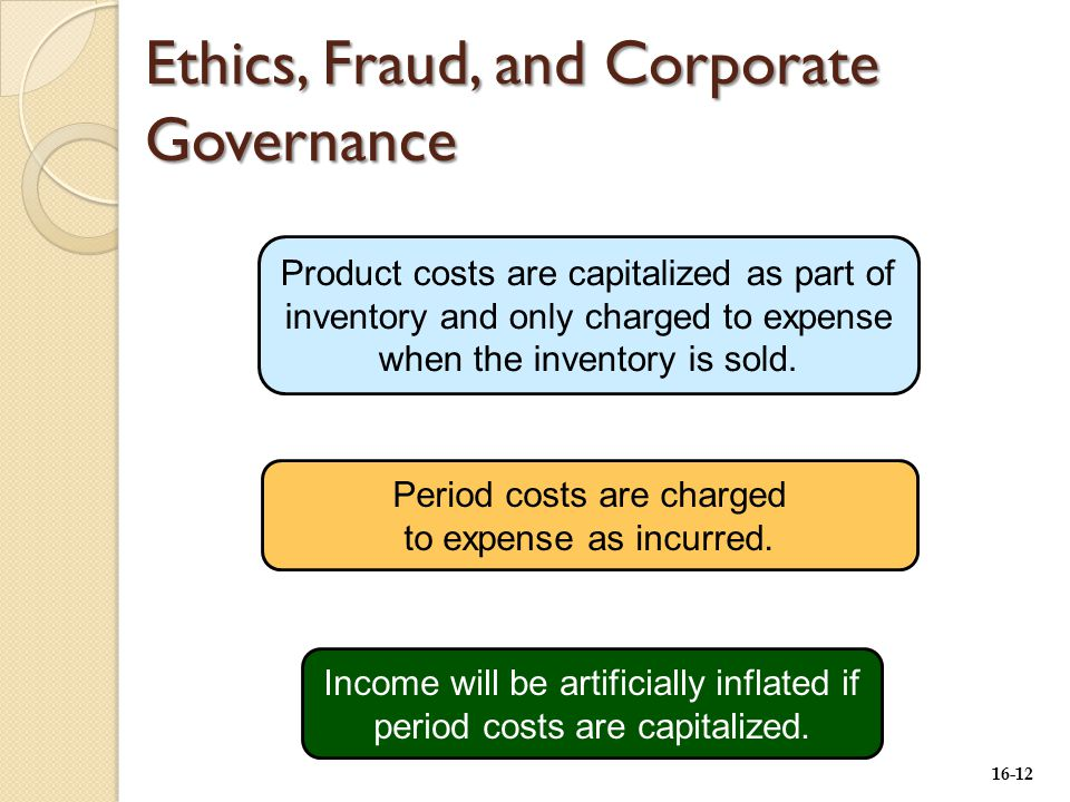 16-12 Ethics, Fraud, and Corporate Governance Product costs are capitalized as part of inventory and only charged to expense when the inventory is sold.