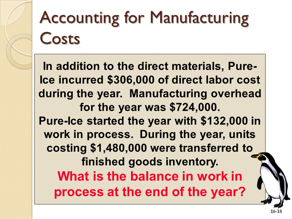 16-18 In addition to the direct materials, Pure- Ice incurred $306,000 of direct labor cost during the year.