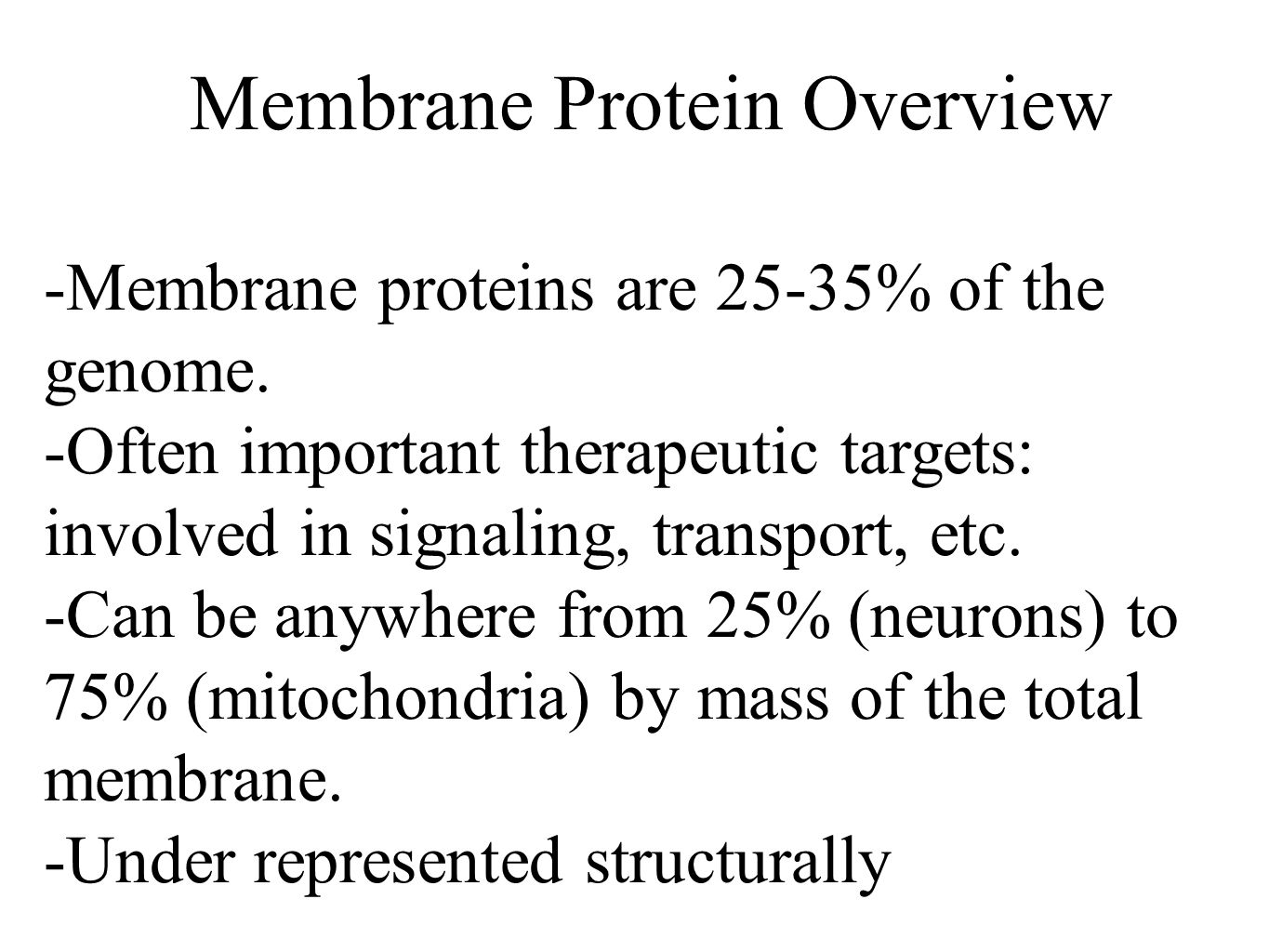 Membrane Protein Overview -Membrane proteins are 25-35% of the genome.