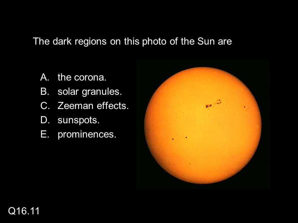 The dark regions on this photo of the Sun are A.the corona.