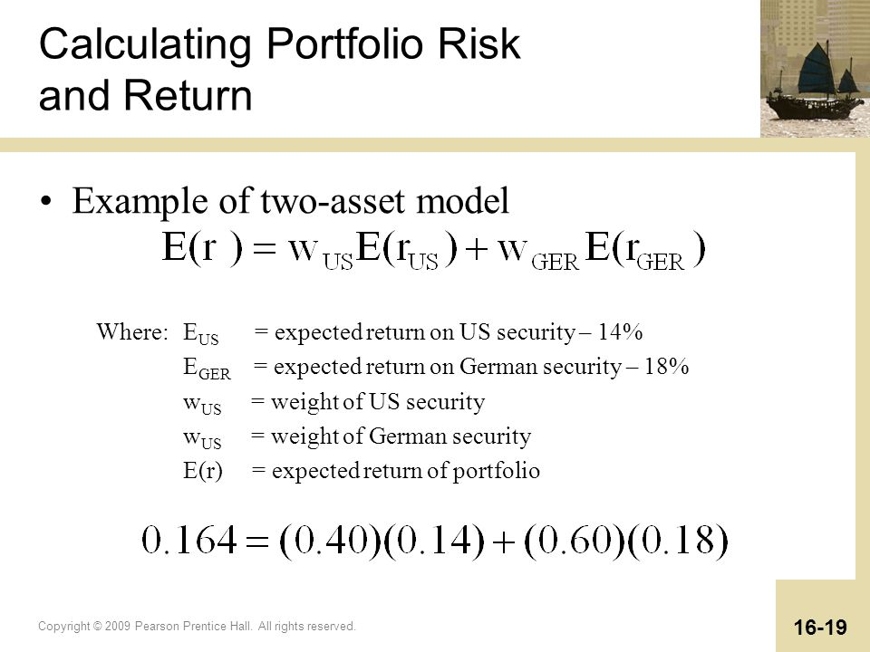 Copyright © 2009 Pearson Prentice Hall. All rights reserved. 16-19 Where:E US = expected return on US security – 14% E GER = expected return on German