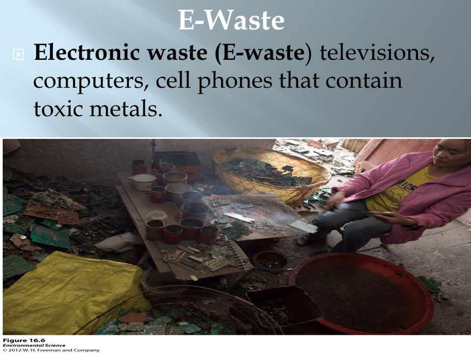 Electronic waste (E-waste ) televisions, computers, cell phones that contain toxic metals. E-Waste