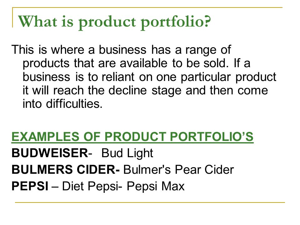 What is product portfolio.