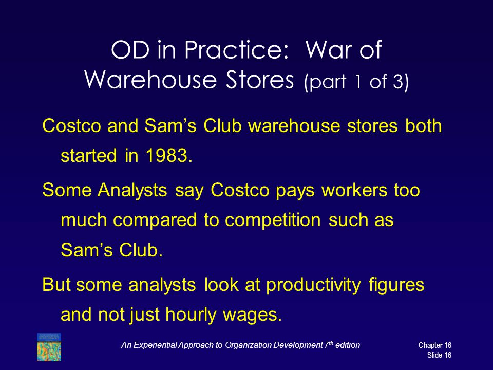 An Experiential Approach to Organization Development 7 th edition Chapter 16 Slide 16 OD in Practice: War of Warehouse Stores (part 1 of 3) Costco and Sam's Club warehouse stores both started in 1983.