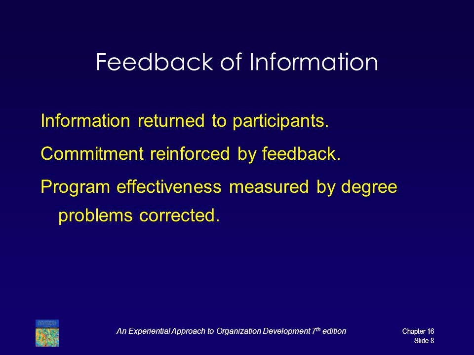 An Experiential Approach to Organization Development 7 th edition Chapter 16 Slide 8 Feedback of Information Information returned to participants.