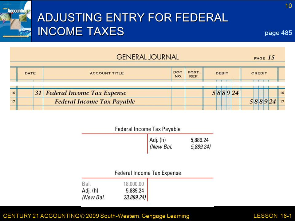 CENTURY 21 ACCOUNTING © 2009 South-Western, Cengage Learning 10 LESSON 16-1 ADJUSTING ENTRY FOR FEDERAL INCOME TAXES page 485