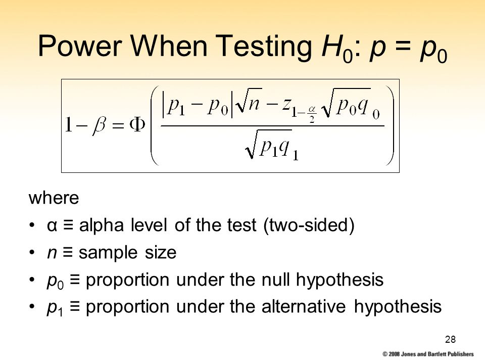 28 Power When Testing H 0 : p = p 0 where α ≡ alpha level of the test (two-sided) n ≡ sample size p 0 ≡ proportion under the null hypothesis p 1 ≡ proportion under the alternative hypothesis