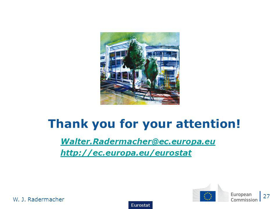 27 W. J. Radermacher Eurostat Thank you for your attention.