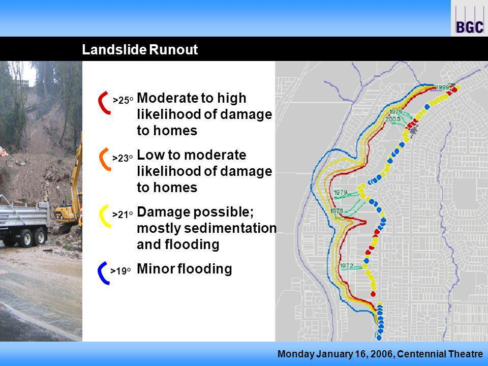 Monday January 16, 2006, Centennial Theatre Landslide Runout Moderate to high likelihood of damage to homes Low to moderate likelihood of damage to homes Damage possible; mostly sedimentation and flooding Minor flooding >25 o >23 o >21 o >19 o