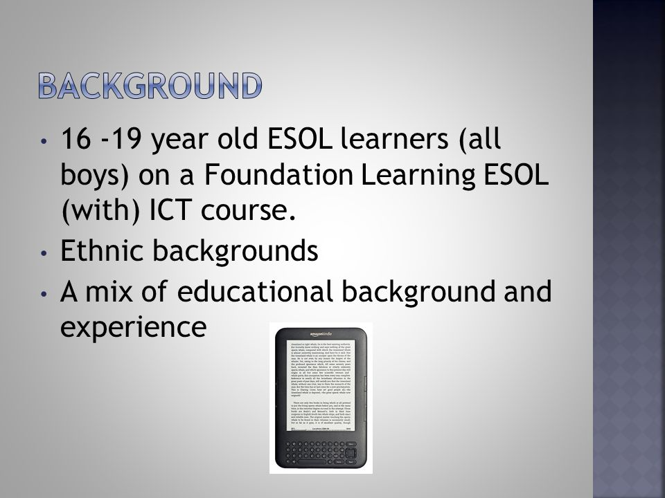 16 -19 year old ESOL learners (all boys) on a Foundation Learning ESOL (with) ICT course.