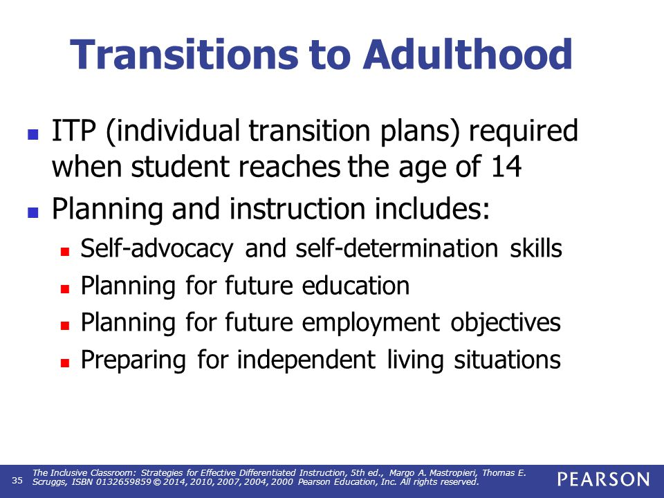 Transitions to Adulthood ITP (individual transition plans) required when student reaches the age of 14 Planning and instruction includes: Self-advocac