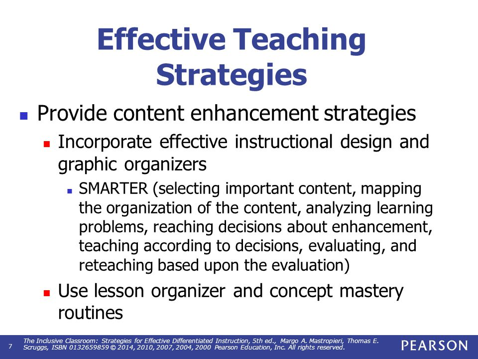 Effective Teaching Strategies Provide content enhancement strategies Incorporate effective instructional design and graphic organizers SMARTER (select