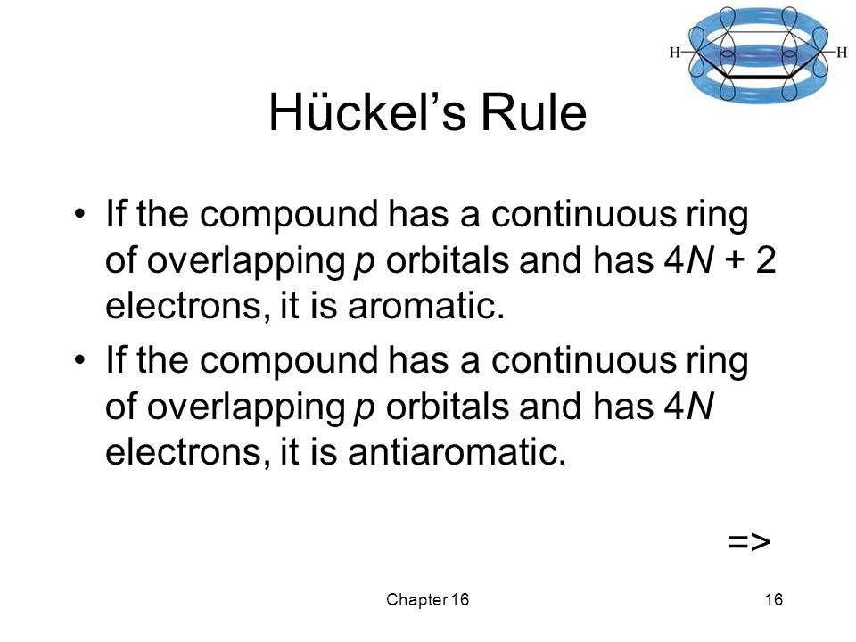 Chapter 1616 Hückel's Rule If the compound has a continuous ring of overlapping p orbitals and has 4N + 2 electrons, it is aromatic.