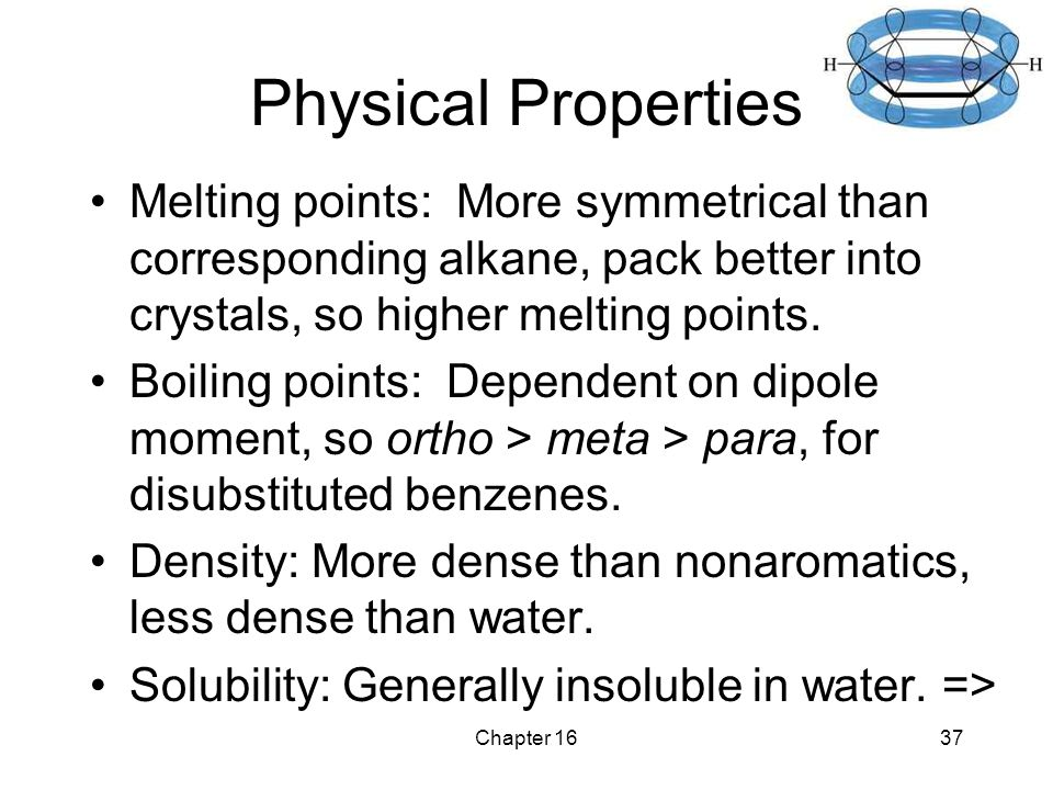 Chapter 1637 Physical Properties Melting points: More symmetrical than corresponding alkane, pack better into crystals, so higher melting points.