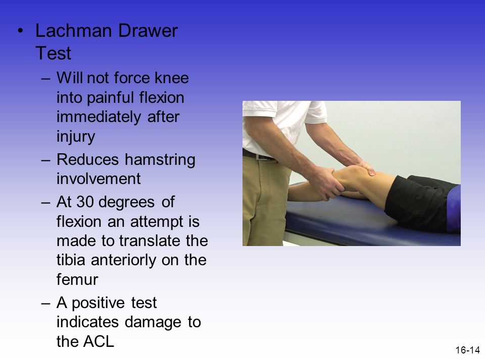 16-14 Lachman Drawer Test –Will not force knee into painful flexion immediately after injury –Reduces hamstring involvement –At 30 degrees of flexion