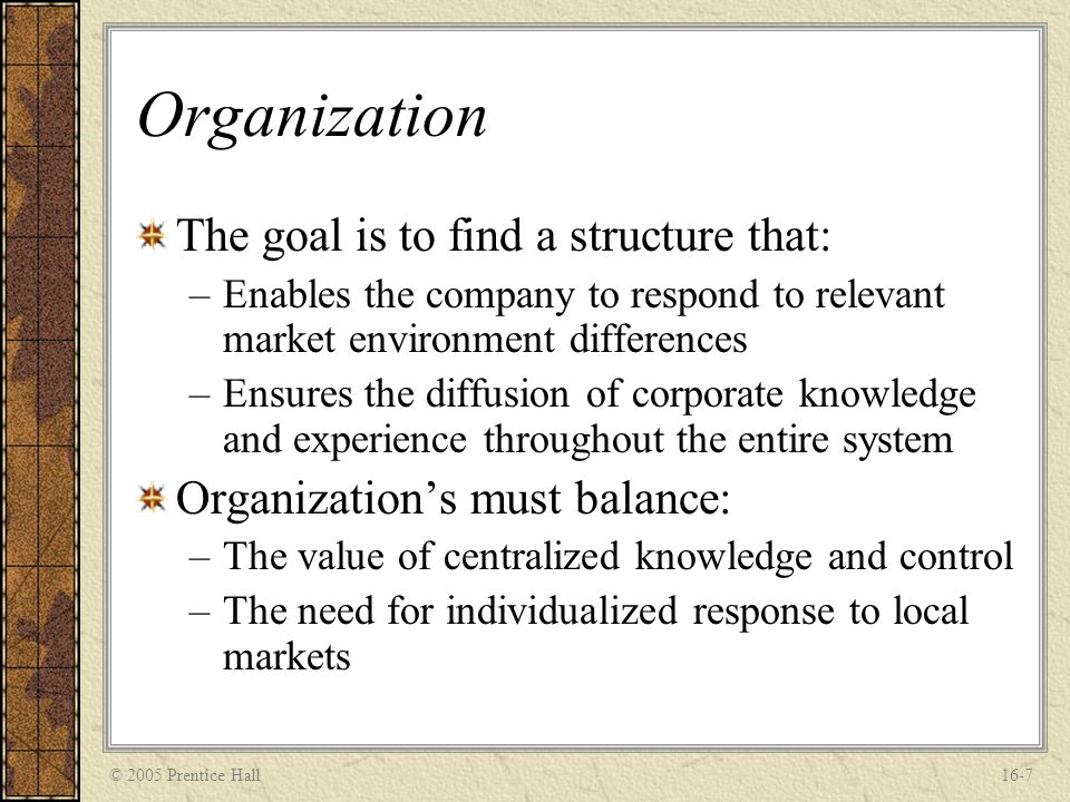 © 2005 Prentice Hall16-7 Organization The goal is to find a structure that: –Enables the company to respond to relevant market environment differences