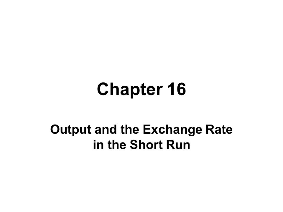 Chapter 16 Output and the Exchange Rate in the Short Run