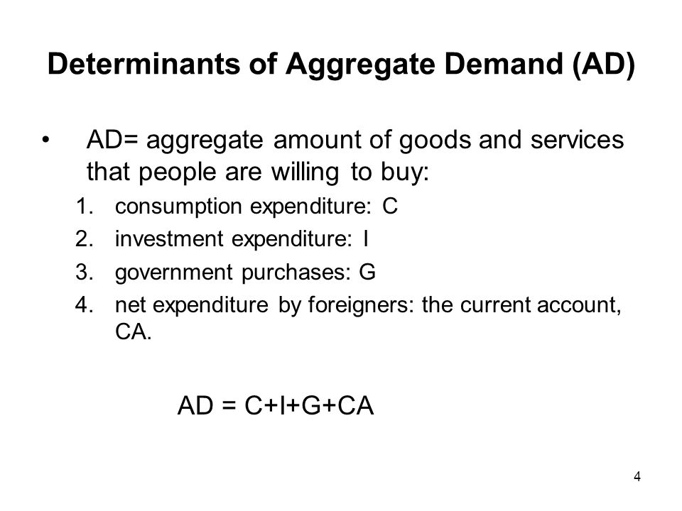 5 Determinants of AD Determinants of C : - Disposable income (Yd): income from production (Y) minus taxes (T).