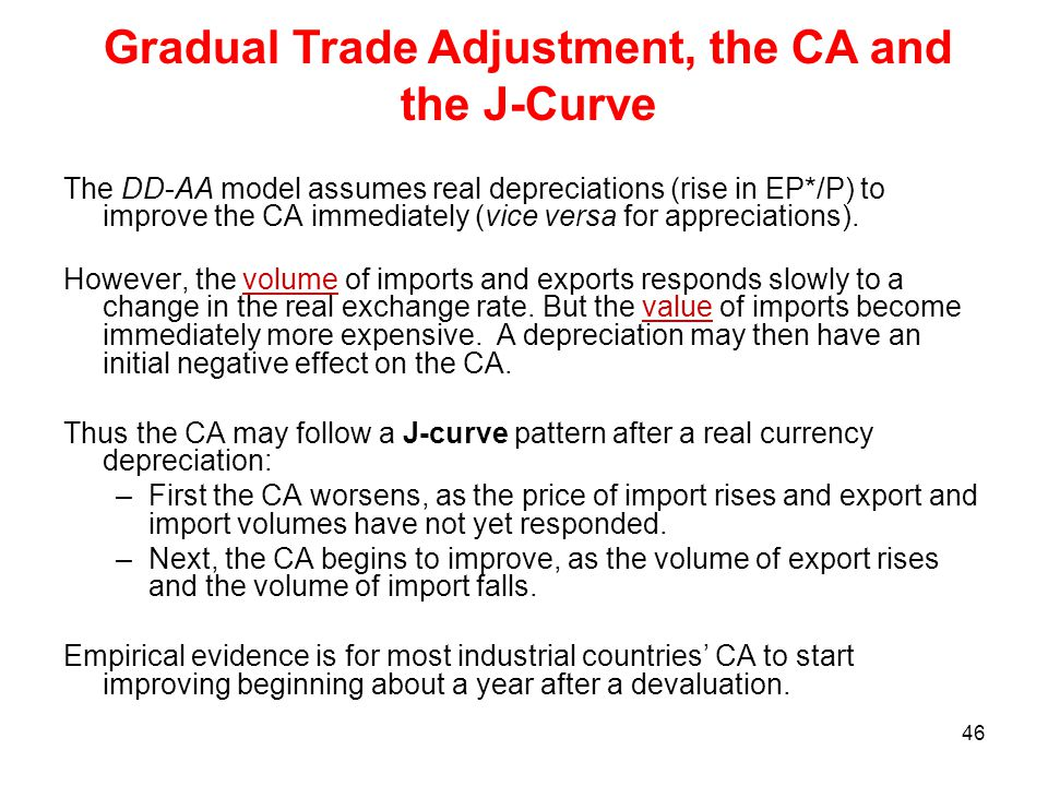 46 The DD-AA model assumes real depreciations (rise in EP*/P) to improve the CA immediately (vice versa for appreciations). However, the volume of imp