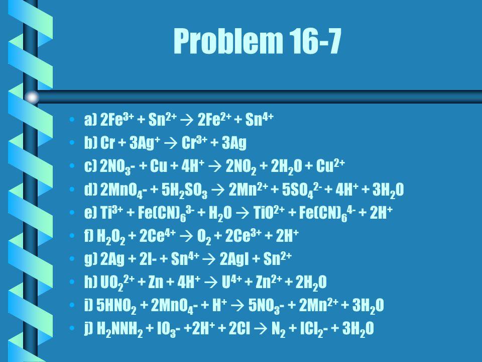 Problem 16-7 a) 2Fe 3+ + Sn 2+  2Fe 2+ + Sn 4+ b) Cr + 3Ag +  Cr 3+ + 3Ag c) 2NO 3 - + Cu + 4H +  2NO 2 + 2H 2 O + Cu 2+ d) 2MnO 4 - + 5H 2 SO 3  2Mn 2+ + 5SO 4 2- + 4H + + 3H 2 0 e) Ti 3+ + Fe(CN) 6 3- + H 2 O  TiO 2+ + Fe(CN) 6 4- + 2H + f) H 2 O 2 + 2Ce 4+  O 2 + 2Ce 3+ + 2H + g) 2Ag + 2I- + Sn 4+  2AgI + Sn 2+ h) UO 2 2+ + Zn + 4H +  U 4+ + Zn 2+ + 2H 2 O i) 5HNO 2 + 2MnO 4 - + H +  5NO 3 - + 2Mn 2+ + 3H 2 O j) H 2 NNH 2 + IO 3 - +2H + + 2Cl  N 2 + ICl 2 - + 3H 2 O
