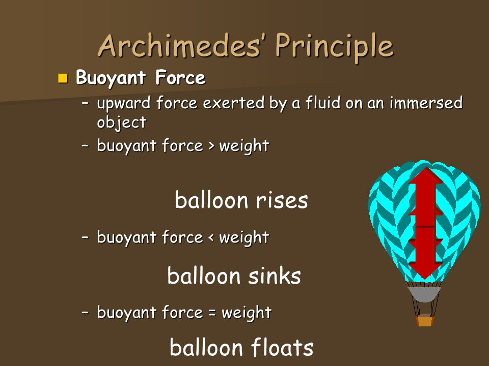 Archimedes' Principle Buoyant Force Buoyant Force –upward force exerted by a fluid on an immersed object –buoyant force > weight –buoyant force = weig
