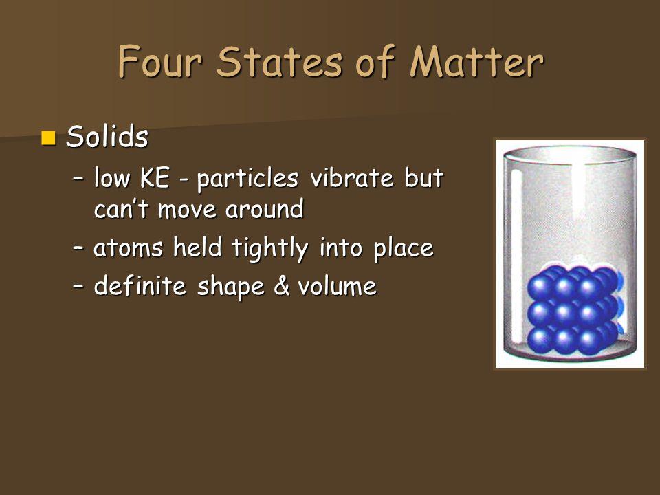 Four States of Matter Liquids Liquids –higher KE - particles can move around but are still close together – no definite shape –definite volume