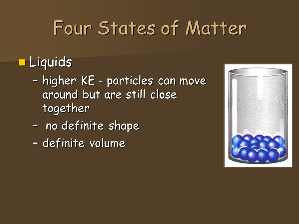 Four States of Matter Liquids Liquids –higher KE - particles can move around but are still close together – no definite shape –definite volume